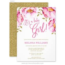 pink and gold baby shower invitations baby shower invitations print creek studio inc