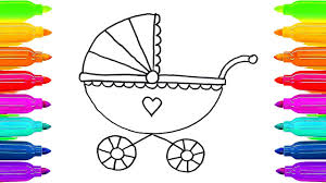 How To Draw Baby Carriage Colouring Book For Kids Learning Colouring Book