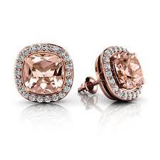 pink stud earrings cushion pink morganite diamond stud halo 14k gold earrings