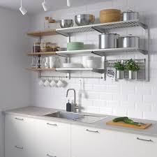 stainless steel kitchen cabinets ikea kungsfors storage unit with wall grid stainless steel ash veneer