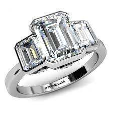 emerald diamonds rings images Emma three diamond ring with emerald cut diamonds jpg