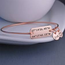 Christmas Gifts For Wife Rose Gold Latitude Longitude Bracelet Anniversary Gift For Wife
