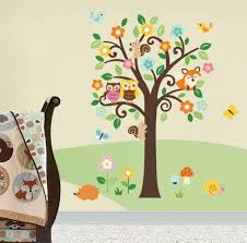 woodland animals baby nursery wall sticker decals for boys and giant peel stick nursery decal forest animals flowers tree for boys girls