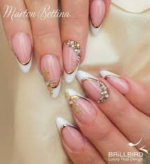 almond french with gold nails beauty pinterest gold nail