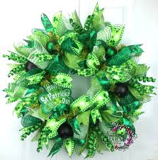 Shamrock Decorations Home Deco Mesh St Patricks Day Wreath With Happy St Patrick U0027s Day Sign