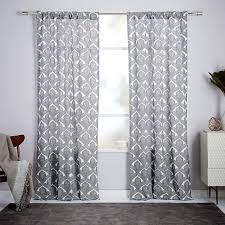 Lined Cotton Curtains Cotton Canvas Fleur Printed Curtain Stone White West Elm