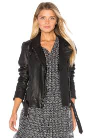 leather biker jacket maison scotch leather biker jacket in black revolve