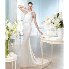 chiffon and sequin halter drape bodice sheath wedding dress star