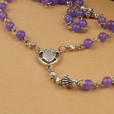 sacred heart rosary catholic rosary amethyst jade mauve purple lilac gemstone