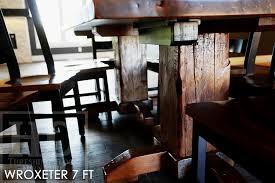 reclaimed wood pedestal table in woodstock ontario