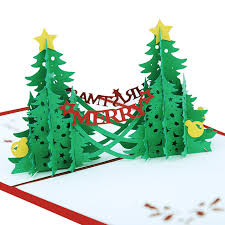 pop up tree christmas origami laser paper cutting greeting card 3d pop up