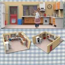 sallys kitchen interior 3d model rigged obj pz3 pp2