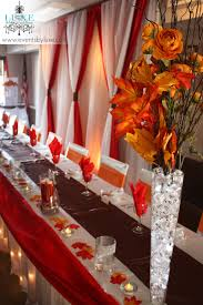 orange brown and red wedding decor in ontario