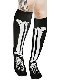 amazon halloween com skeleton bone knee high socks halloween cosplay deathrock