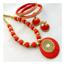 red necklace images Red silk thread jewelry necklace set navodyami jpg