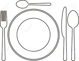 place setting with plate knife spoons and fork royalty free