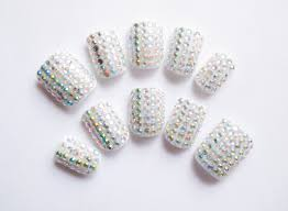 24 short rhinestone nails fake nails false nails acrylic