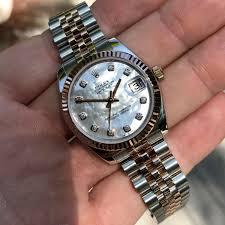 golden jubilee diamond size comparison rolex datejust 178271 mop diamond dial midsize steel rose gold