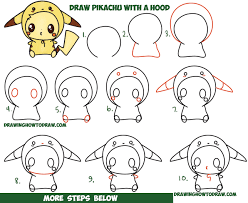how to draw cute pikachu with costume hood from pokemon kawaii