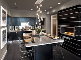 modern small kitchen for outstanding dream house design with fireplace