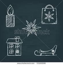 collection chalk sketch new year icons stock vector 721599463