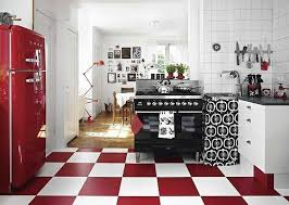 Retro Kitchens Red White And Black Retro Kitchen U003dfloor For Bakery Red