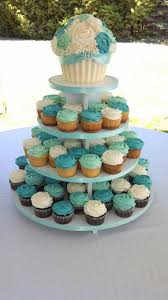 Easy Giant Cupcake Decorating Ideas Wedding Cupcake Tower With Bride And Groom Giant Cupcake Teal