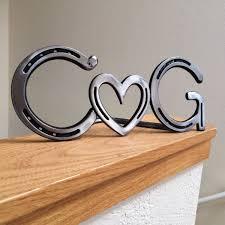 personalized horseshoe horseshoe heart initials wedding decor or table centerpiece