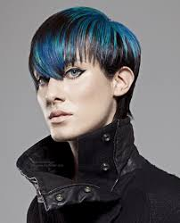 blue hair short with a long fringe and neckline