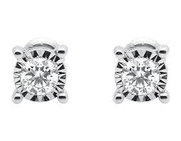 earring stud set 10k white gold mens womens illusion bezel set diamond