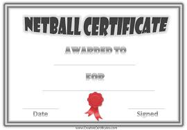 free netball certificates