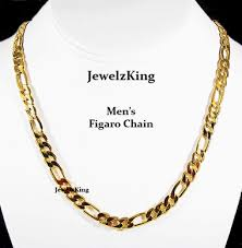 figaro necklace men images Mens 6mm 14k gold finish figaro chain necklace jewelzking gif