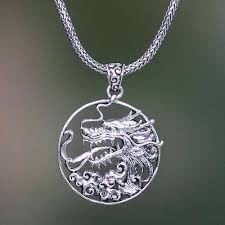 dragon necklace pendant images Men 39 s sterling silver dragon necklace victorious novica jpg