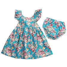 2017 girls dresses with briefs floral ruffle sundress infant