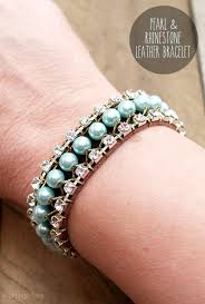 leather rhinestone bracelet images Pearl and rhinestone leather bracelet jpg