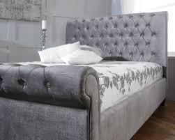 Velvet Sleigh Bed Orbit Plush Silver Velvet U2013 Vancouver Fabric Bed Majestic