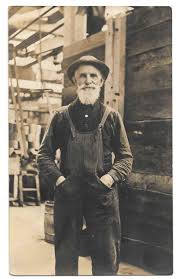 vintage photo postcard old man white beard work clothes overalls