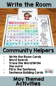 may write the room community helpers activities and students
