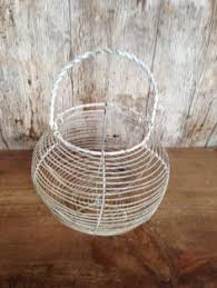 Shabby Chic Wire Basket by French Wire Basket Egg Basket Vintage Wire Basket Vintage