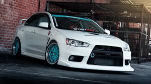 mitsubishi blue white tuning mitsubishi lancer evo x with blue wheels