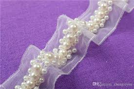 lace ribbon 2017 white mesh pearl beaded lace trim fabric paillette lace