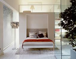 furniture white wall bed with brown and grey bedding using orange