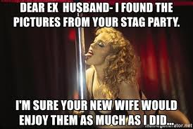 Stag Party Meme - dear ex husband i found the pictures from your stag party i m sure