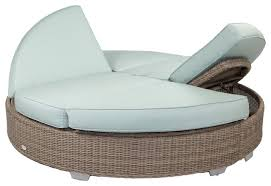 palisades round double chaise with sunbrella cushions gray