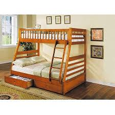 jason twin over full wood bunk bed honey oak walmart com