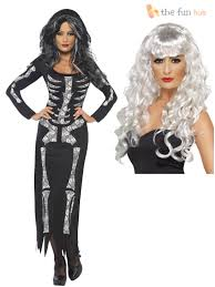 ladies skeleton costume wig long dress women halloween fancy
