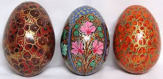 decorative eggs from kashmir set of 3
