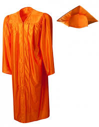 kindergarten cap and gown shiny orange cap gown graduationsource