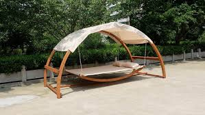 amazon com double arched wooden swing hammock bed w canopy 2