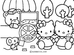 kitty eating popcorns friends coloring pages